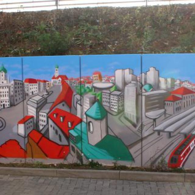 augsburg louzeh lou zeh graffiti ibis budget big mural rathaus perlachturm