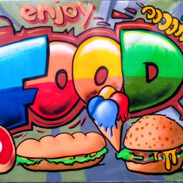 lou zeh louzeh food graffiti burger fries pommes icecream cocktail steak