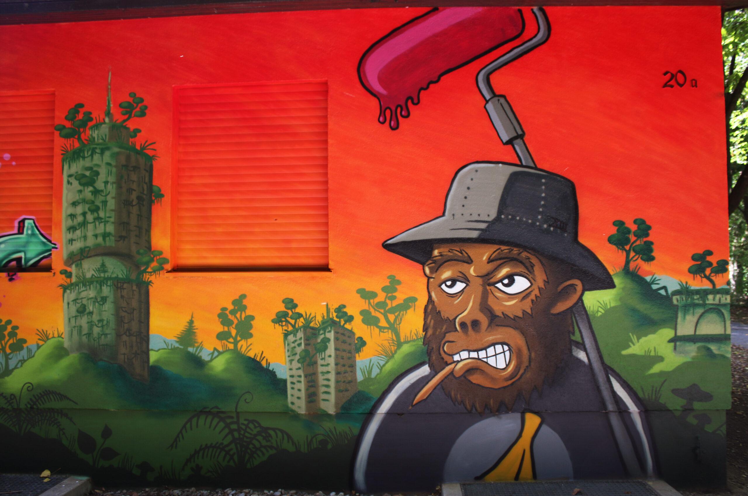 lou zeh louzeh monkey character roller graffiti jungle banana fisherhat hotelturm hotel tower dschungel